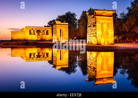 Madrid, Spain at the ancient Egyptian ruins of Temple Debod. - Stock Photo
