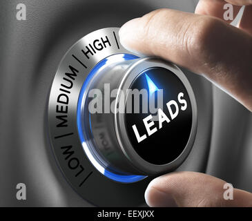 Leads button pointing  high position with two fingers, blue and grey tones, Conceptual image for increasing sales - Stock Photo