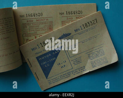 Fuel ration book 1973 oil crisis Petrol rationing books for motor car - Stock Photo
