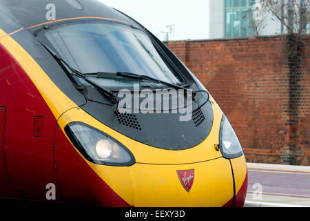 Virgin Pendolino electric train at Rugby station, Warwickshire, UK - Stock Photo