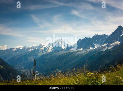 Aiguilles de Chamonix with the Aiguille du Midi, Rhone-Alpes, Haute-Savoie, France, Europe - Stock Photo