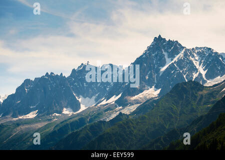 Aiguilles de Chamonix mountain range with Aiguille du Midi, Rhone-Alpes, Haute-Savoie, French Alps, France, Europe - Stock Photo