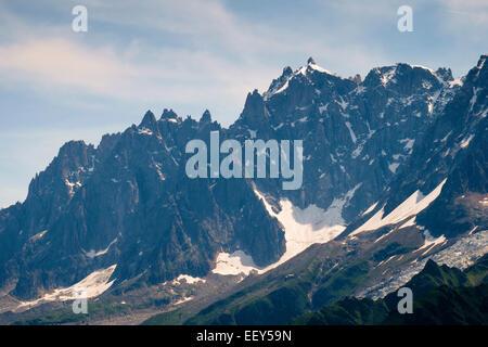 Aiguille du Midi, Aiguilles de Chamonix, mountain range, Rhone-Alpes, Haute-Savoie, France, Europe - Stock Photo