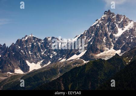 Aiguilles de Chamonix with the Aiguille du Midi, Mont Blanc massif, Rhone-Alpes, Haute-Savoie, French Alps, France - Stock Photo