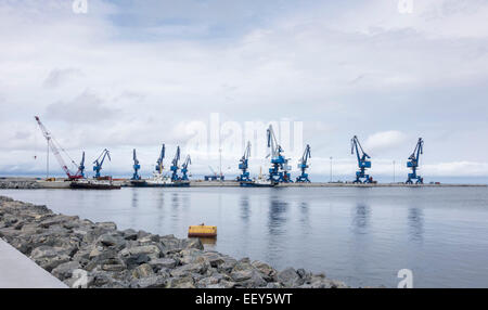 Large cranes at the new port expansion in Bata, Equatorial Guinea, West Africa - Stock Photo