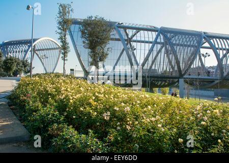 Arganzuela Bridge in Madrid Rio Park, Madrid, Spain.  Designed by Dominique Perrault, it is 274 metres in lenght - Stock Photo