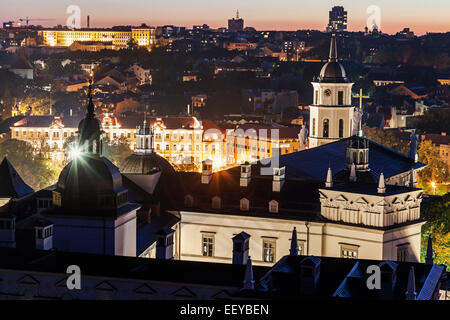 Lithuania, Vilnius, Elevated view of city at tight - Stock Photo