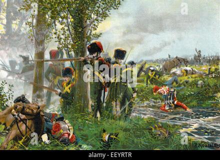The Battle of Waterloo on Sunday, 18 June 1815, near Waterloo in present-day Belgium, Die Schlacht bei Waterloo - Stock Photo