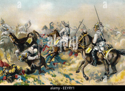 Von Bredow's Death Ride, the Prussian 7th Cuirassiers charge the French guns at the Battle of Mars-la-Tour or Vionville, - Stock Photo