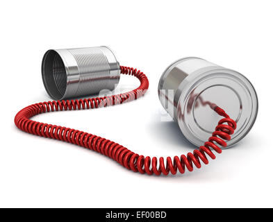 Tin can phone with wired cable - Stock Photo