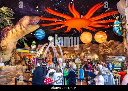 Orlando Florida Lake Buena Vista Downtown Disney shopping dining entertainment T-Rex restaurant inside dinosaur - Stock Photo