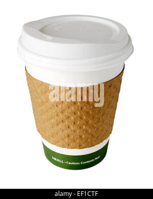 Iconic Paper Take-out coffee cup on white background - Stock Photo
