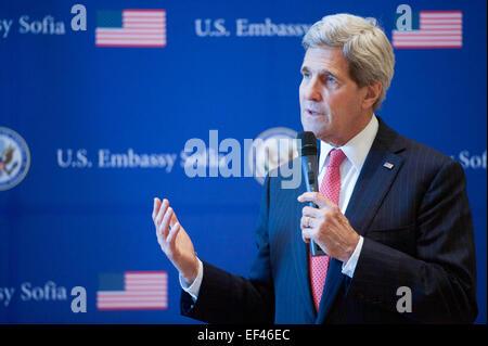 U.S. Secretary of State John Kerry addresses the staff Embassy Sofia amid an employee meet-and-greet on January - Stock Photo