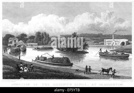 An engraving of the Junction of the Regents Canal, at Paddington scanned at high resolution from a publication printed - Stock Photo