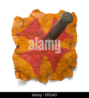 Old Worn Map Paper with Knife Stabbed into Red X Isolated on White Background. - Stock Photo