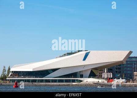 Amsterdam EYE Film Institute Netherlands building on northern waterfront of the IJ harbor, harbour. Dutch cinematography - Stock Photo