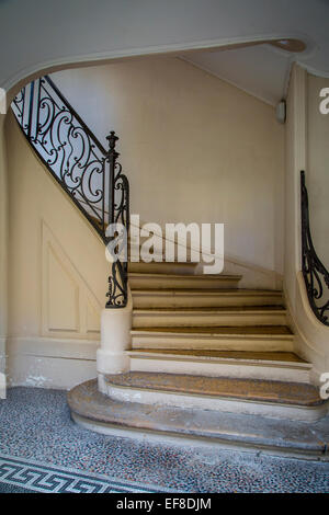 Curved staircase in Saint Germain des Pres, Paris, France - Stock Photo