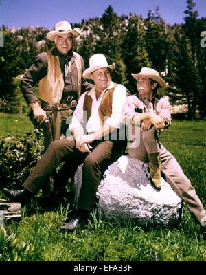 LORNE GREENE, DAN BLOCKER, MICHAEL LANDON, BONANZA, 1959 - Stock Photo