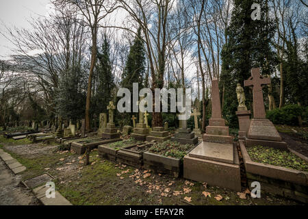 Highgate Cemetery (east) in North London, UK - Stock Photo