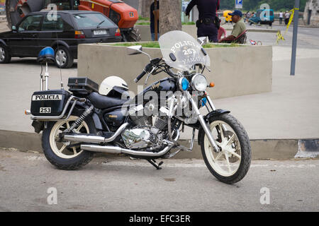 Cuba Old Havana La Habana Vieja parked police Yamaha Virago motorbike bike cycle Policia white helmet - Stock Photo