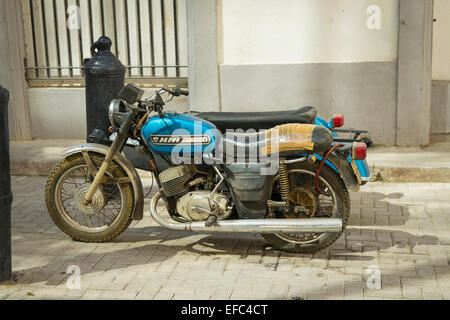 Cuba Old Havana La Habana Vieja classic vintage motorcycle motor cycle motorbike bike sidecar - Stock Photo