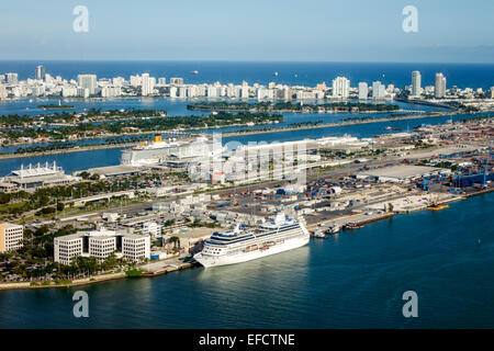 Miami Florida Port Biscayne Bay cruise ship Miami Beach Atlantic Ocean aerial MacArthur Causeway view through window - Stock Photo