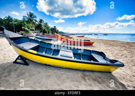 Low Angle View of Colorful, Small Wooden, Fishing Boats on a Caribbean Beach, Crashboat Beach, Aguadilla, Puerto - Stock Photo