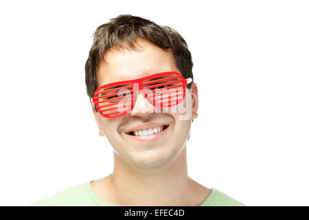 smiling men in red sunglasses isolated on white background - Stock Photo