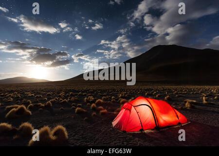 Camping at Laguna Chulluncani, Altiplano, Bolivia, South America - Stock Photo