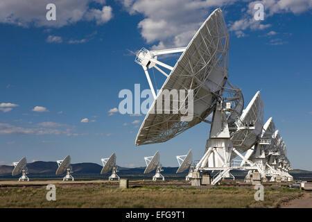 Radar telescopes in alignment at the National Radio Astronomy Observatory (Very Large Array) near Socorro, New Mexico, - Stock Photo