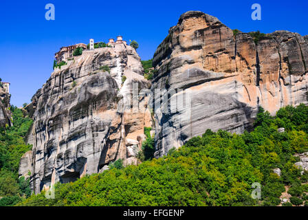 Meteora, Greece. Greek Orthodox six monasteries complex built on natural sandstone rock pillars in Pindus Mountains, - Stock Photo