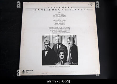 rear cover of the 1977 kraftwerk album, trans-europe express - Stock Photo