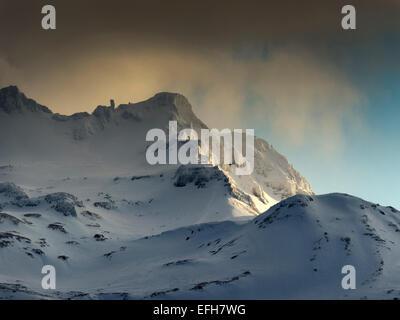 Icelandic Landscape scene, depicting the snow covered peaks of Holsfjall, near Grundarfjordur, Western Iceland - Stock Photo