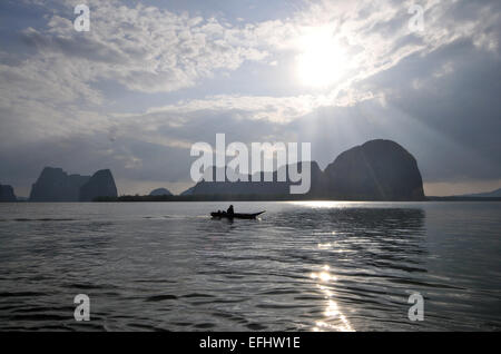 Near Ko Panyi stalkvillage in Ao Phang Nga near Phuket, Andaman Sea, Thailand, Asia - Stock Photo