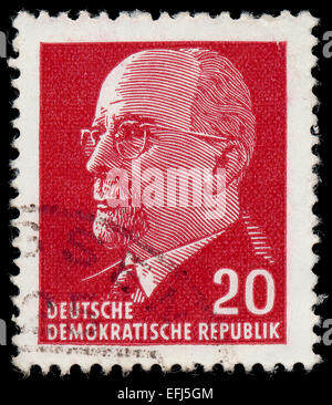 GERMAN DEMOCRATIC REPUBLIC - CIRCA 1961: A stamp printed in Germany shows the leader of East Germany from 1950 to - Stock Photo