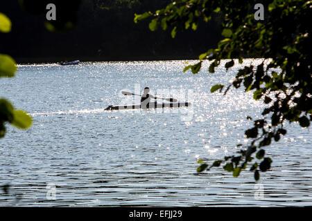 Kayak on 'Baldeneysee' lake, river Ruhr, Essen, Germany, - Stock Photo