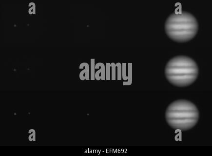 London, UK. 6th February, 2015. The gas giant Jupiter is at Opposition tonight, a celestial event when the planet - Stock Photo
