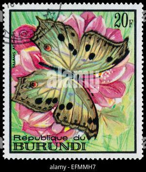 REPUBLIC OF BURUNDI - CIRCA 1968: A stamp printed in Burundi shows a butterfly Salamis aethiops, circa 1968 - Stock Photo