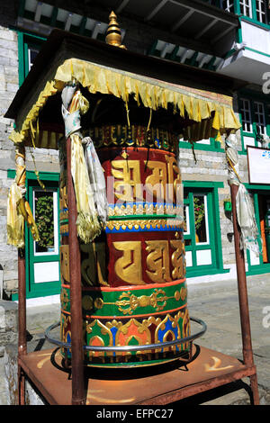 Prayer Wheel, Buddhist Stupa and Prayer Flags, Chineplung village, Sagarmatha National Park, Solukhumbu district, - Stock Photo