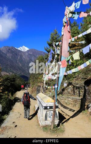 Mani Stone Prayer wall, Buddhist Stupa and Prayer Flags, Chineplung village, Sagarmatha National Park, Solukhumbu - Stock Photo