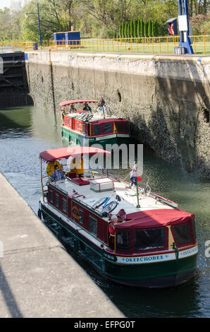Two Erie Canal Packet boats heading East toward Albany New York - Stock Photo
