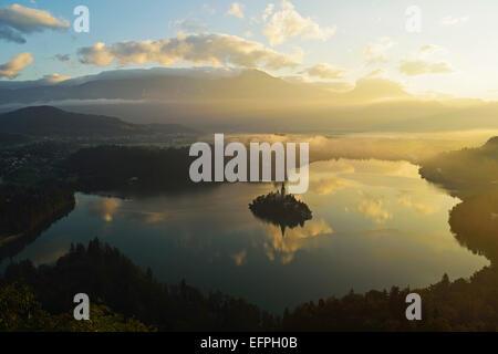 Lake Bled (Blejsko jezero), Bled, Julian Alps, Slovenia, Europe - Stock Photo
