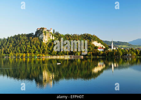 Bled castle, Lake Bled (Blejsko jezero), Bled, Julian Alps, Slovenia, Europe - Stock Photo