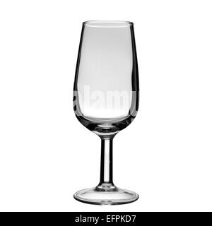 an empty sherry glass on a white background - Stock Photo