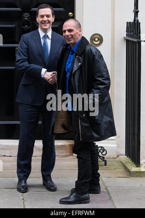 Monday, February 2, 2015  George Osborne meets Greek finance minister Yanis Varoufakis at 11 Downing Street in central - Stock Photo