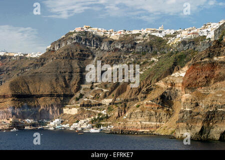 Santorini, Greece. 29th Sep, 2004. From the Santorini lagoon, a view of the Old Port of Fira Gialos, some 900 ft - Stock Photo