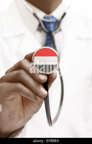 Stethoscope with national flag conceptual series - Yemen - Stock Photo