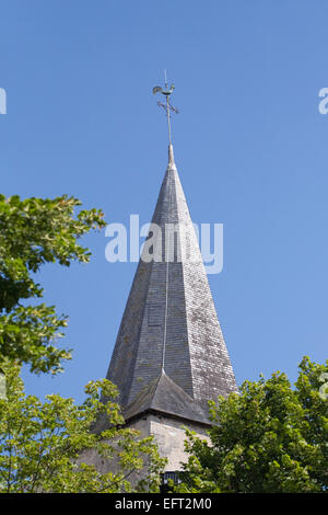 Roof tiles on L'eglise Notre-Dame in Montmorillon. - Stock Photo