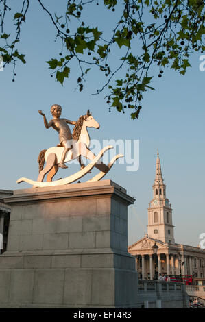 The 'Fourth Plinth'  in Trafalgar Square, London, with the sculpture known as 'Powerless Structures Fig.101' during - Stock Photo