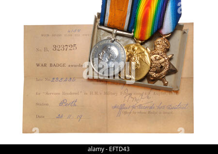 First World War medals: 'Pip, Squeak and Wilfred' - British War Medal; Victory Medal; 1914 Star;  (left to right) - Stock Photo